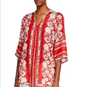 Johnny Was Zoi Button Down Floral Rayon Blouse